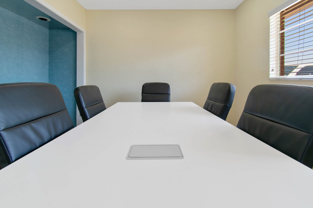Conference room available for up to 8 people.