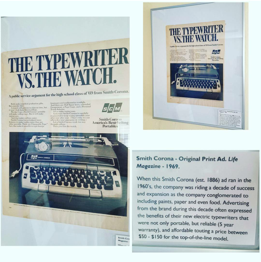 The Typewriter vs. The Watch advertisement from Smith Corona which hangs in our Southeast Workspace, aka Technology room.