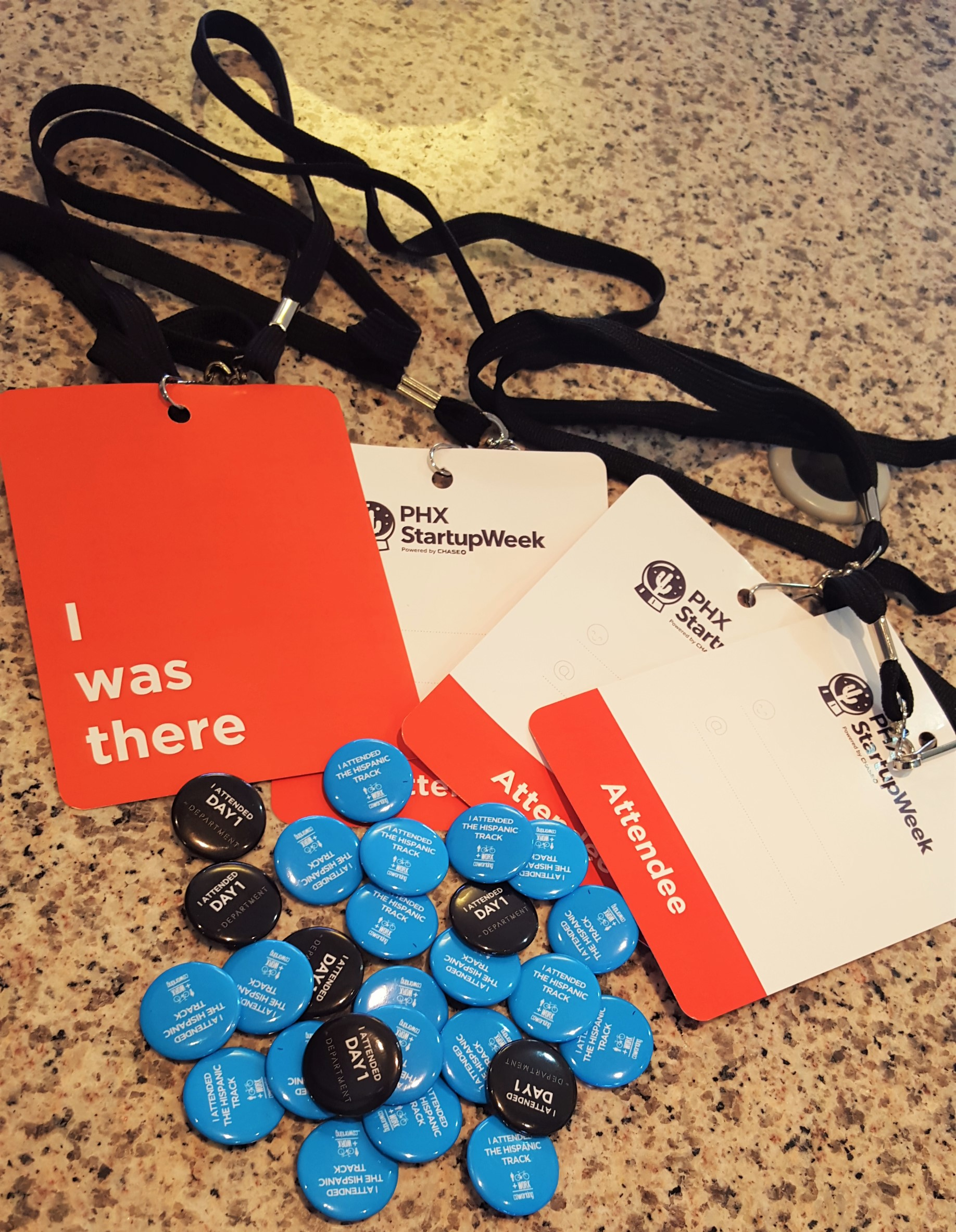 Fun buttons and lanyards form the event!